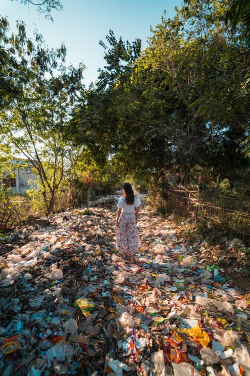 Photo of a Woman Standing on a Pile of Garbage Near Trees