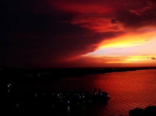 Free stock photo of cloudscape, lake, red sky, sunset