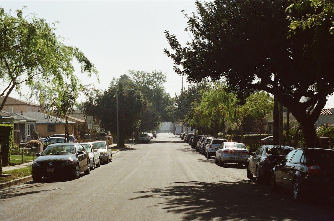 parking, prosty, samochody