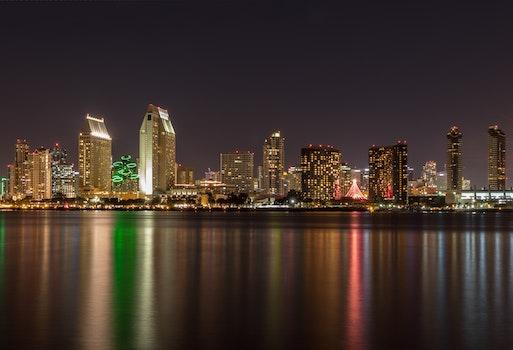 Free stock photo of city, sunset, night, water