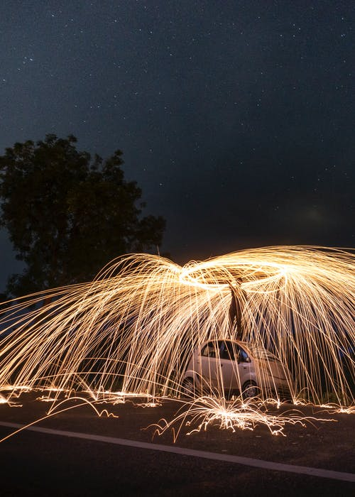 Free stock photo of long exposure, night life, steel wool photography