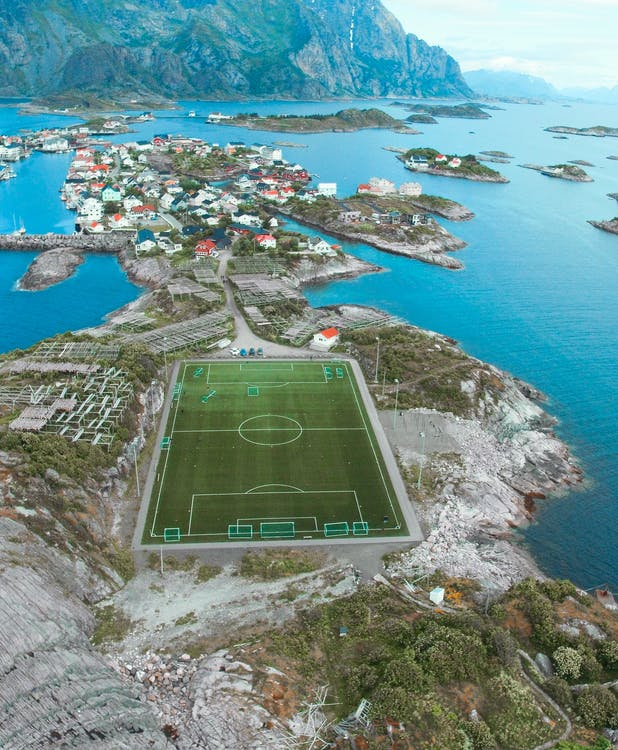 Soccer Field In the Middle of an Island