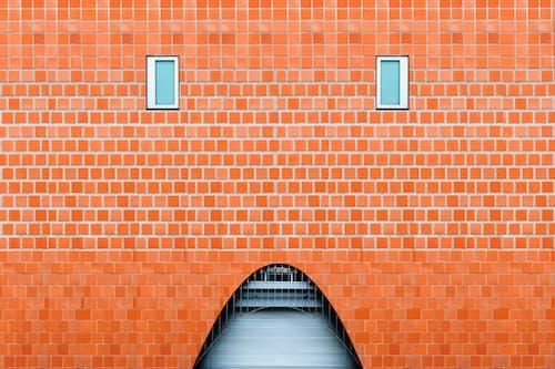 アーチ, オレンジ, パターン, れんが壁の無料の写真素材
