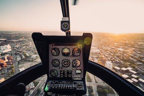Imagine de stoc gratuită din aeronavă, apus, avion, cabină de pilotaj