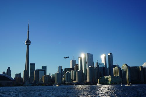 Free stock photo of aeroplane, city scape, cn tower