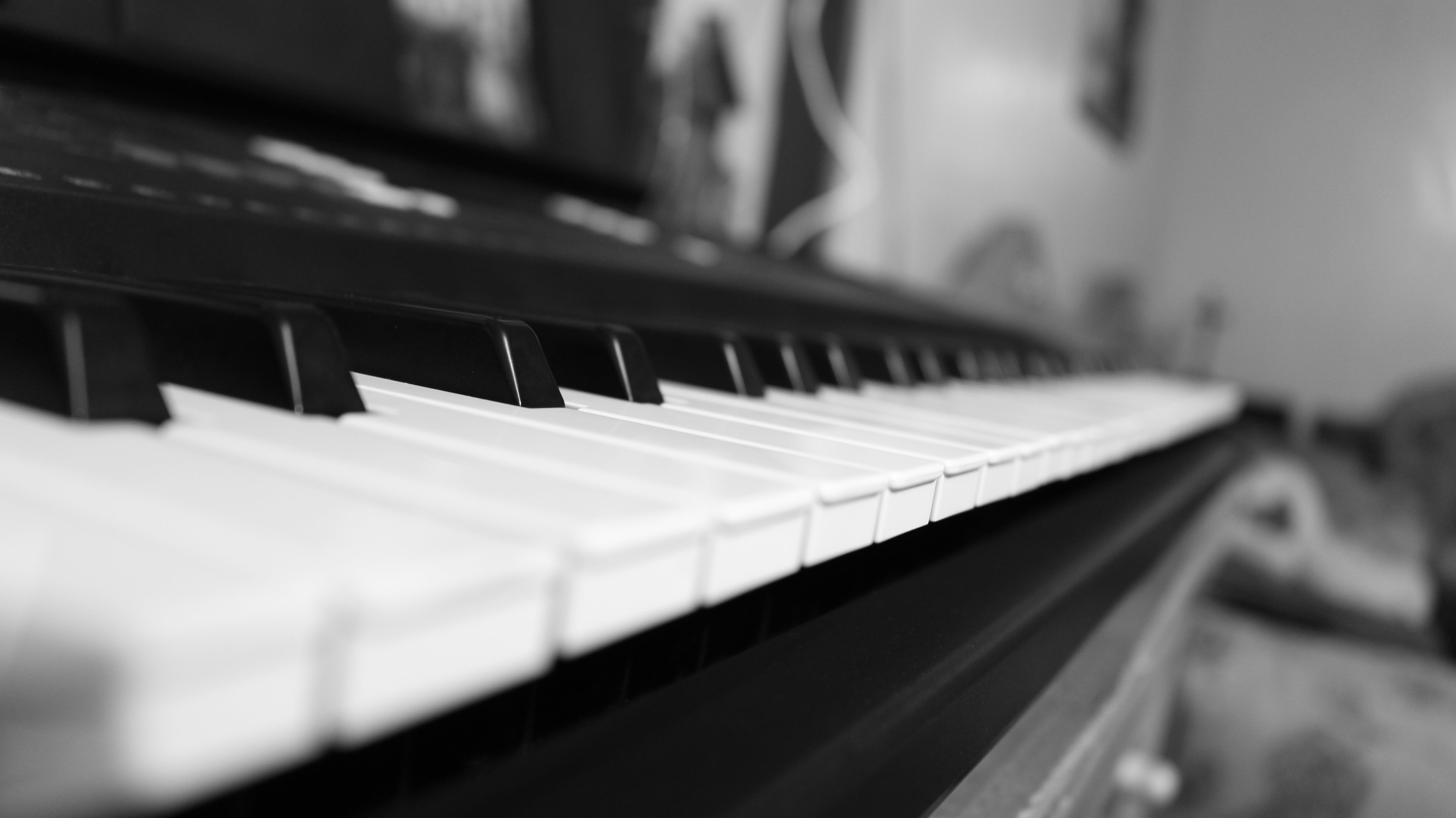 Grayscale Photo of Piano Tiles