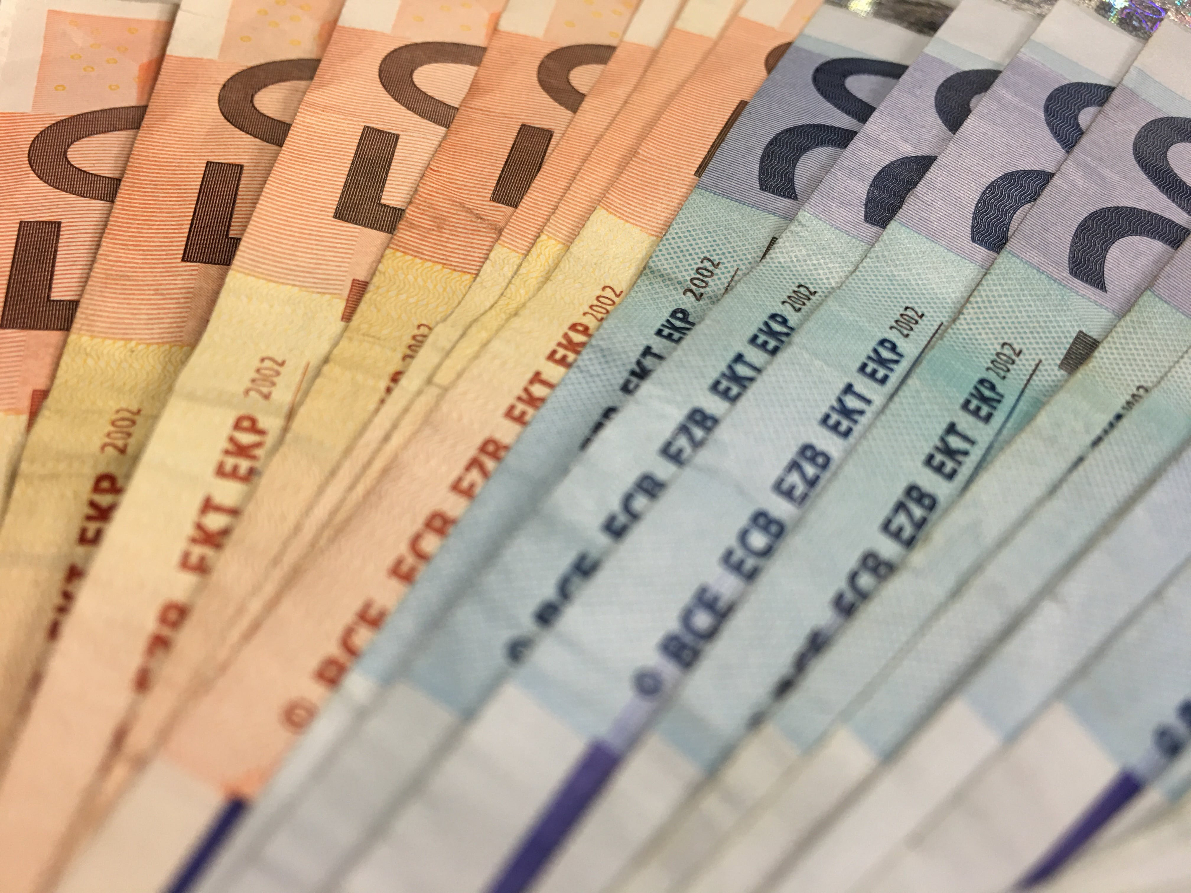 Free stock photo of 20 euro, 50 euro, banknote, currency