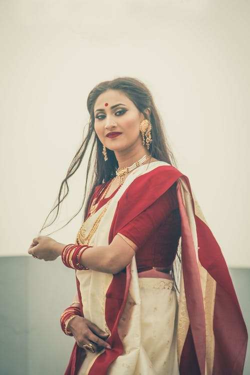 Woman Wearing Sari Dress