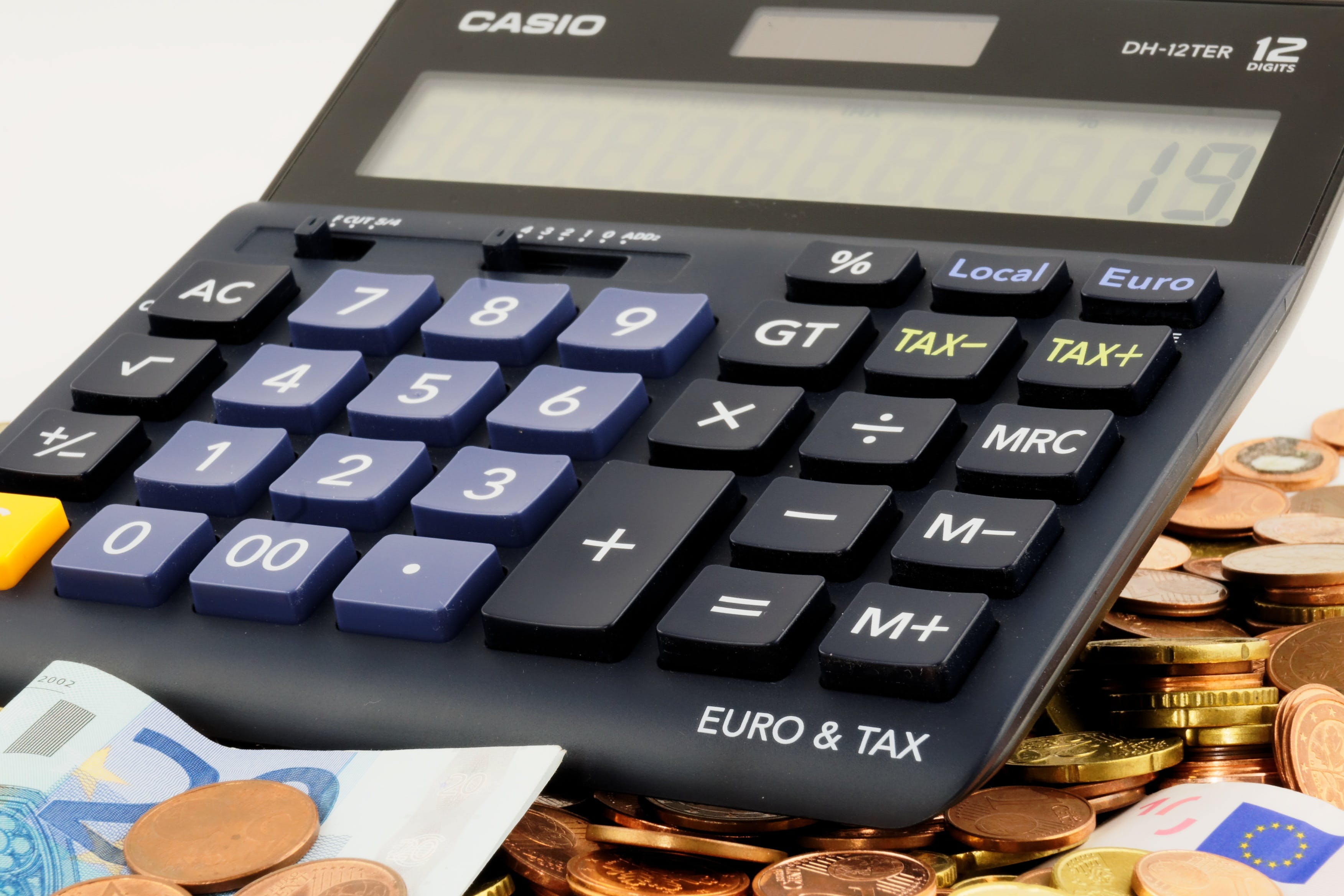 Free stock photo of calculator, cent, coins, euro