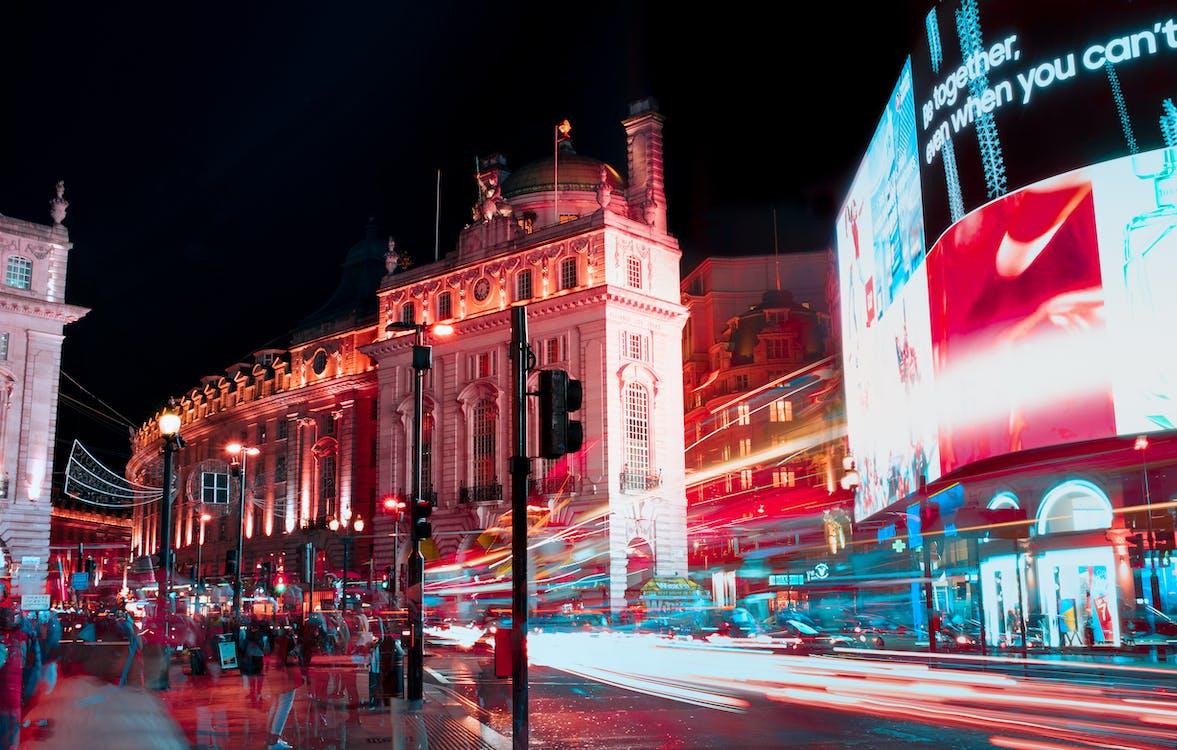 ánh đèn thành phố, chiếu sáng, chụp ảnh thời gian trôi