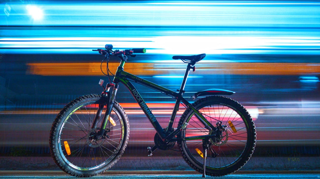 Photograph of a Parked Black Rock Hammer Hardtail Mountain Bike