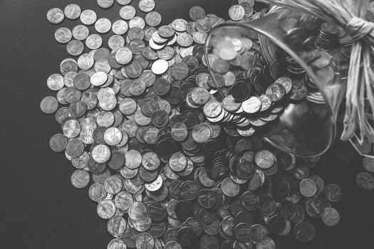 Free stock photo of black-and-white, dark, round, money