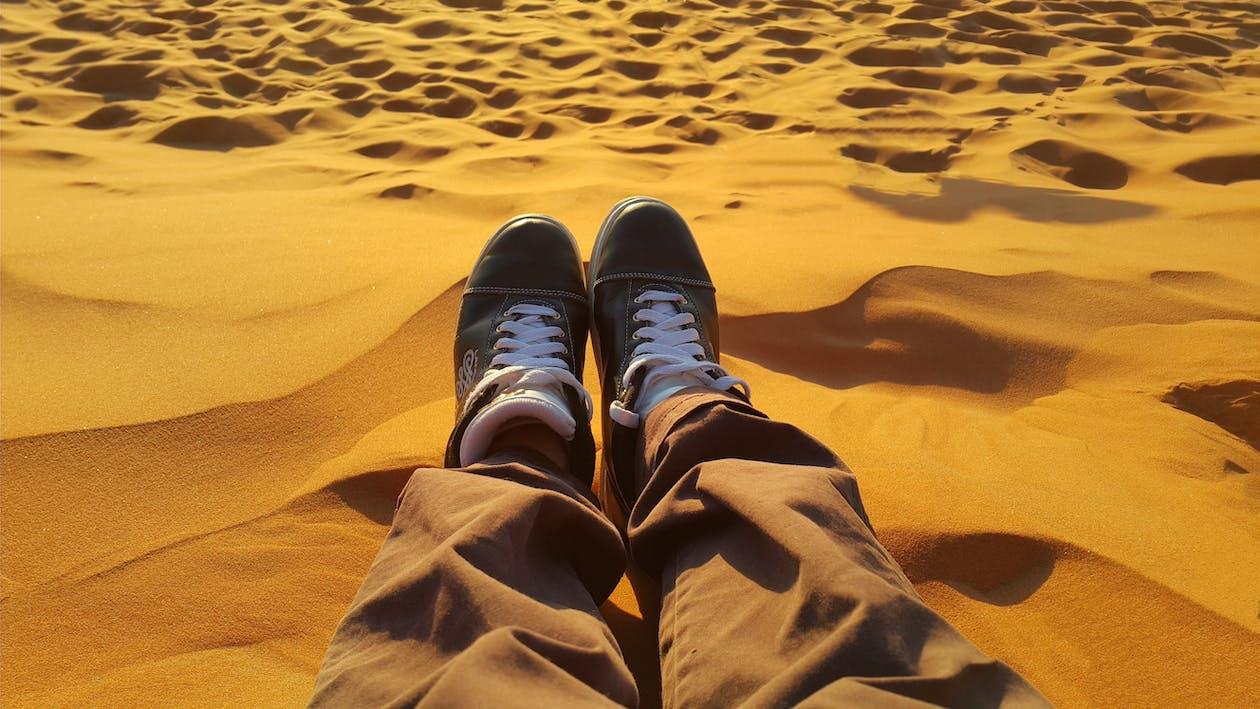 Man Sitting on Sand