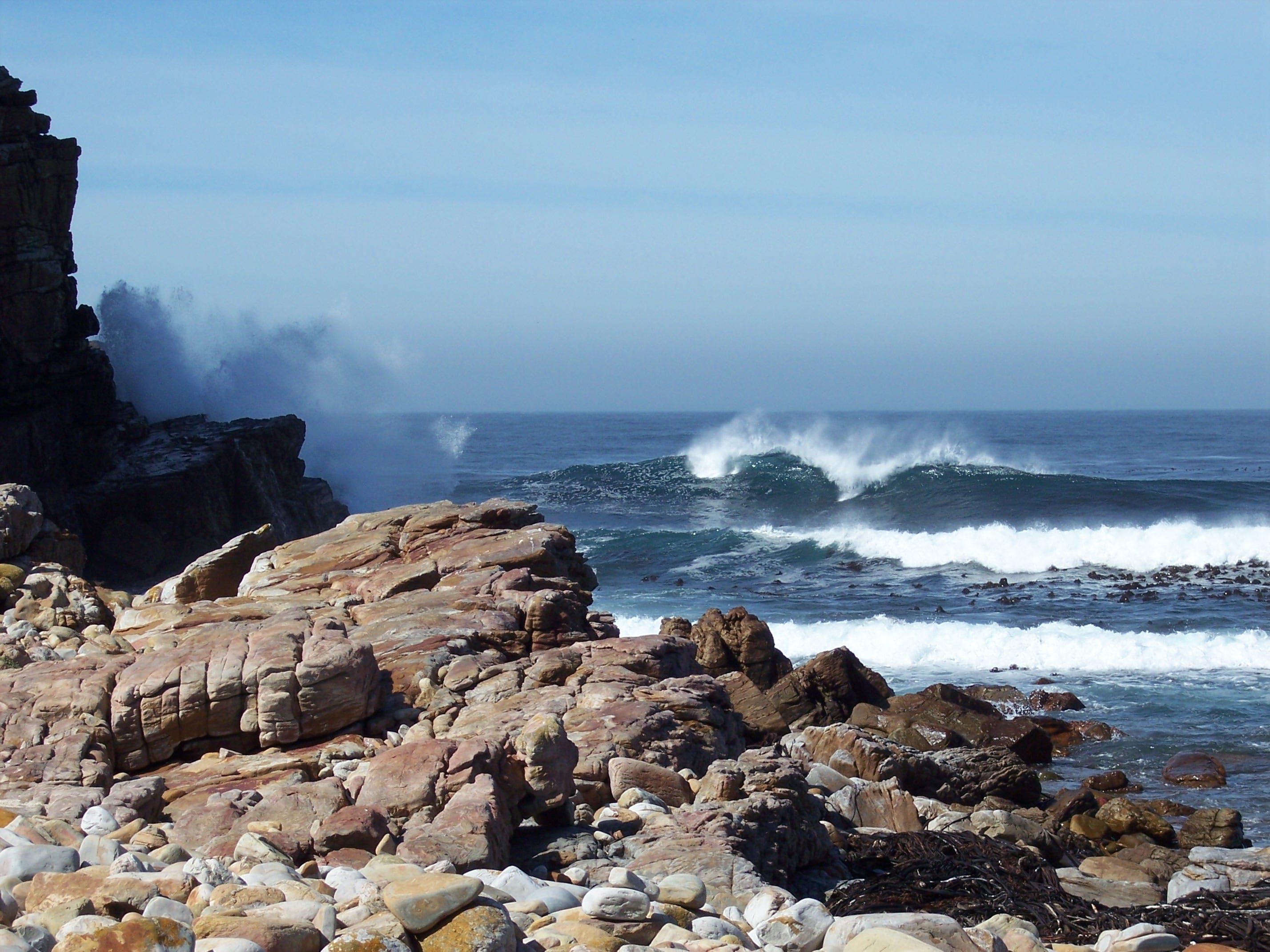 Wave Splashing on Rock Shore