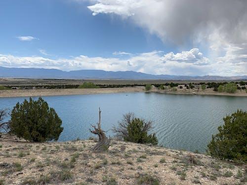 Foto d'estoc gratuïta de aigua, cel blau, embassament, núvols