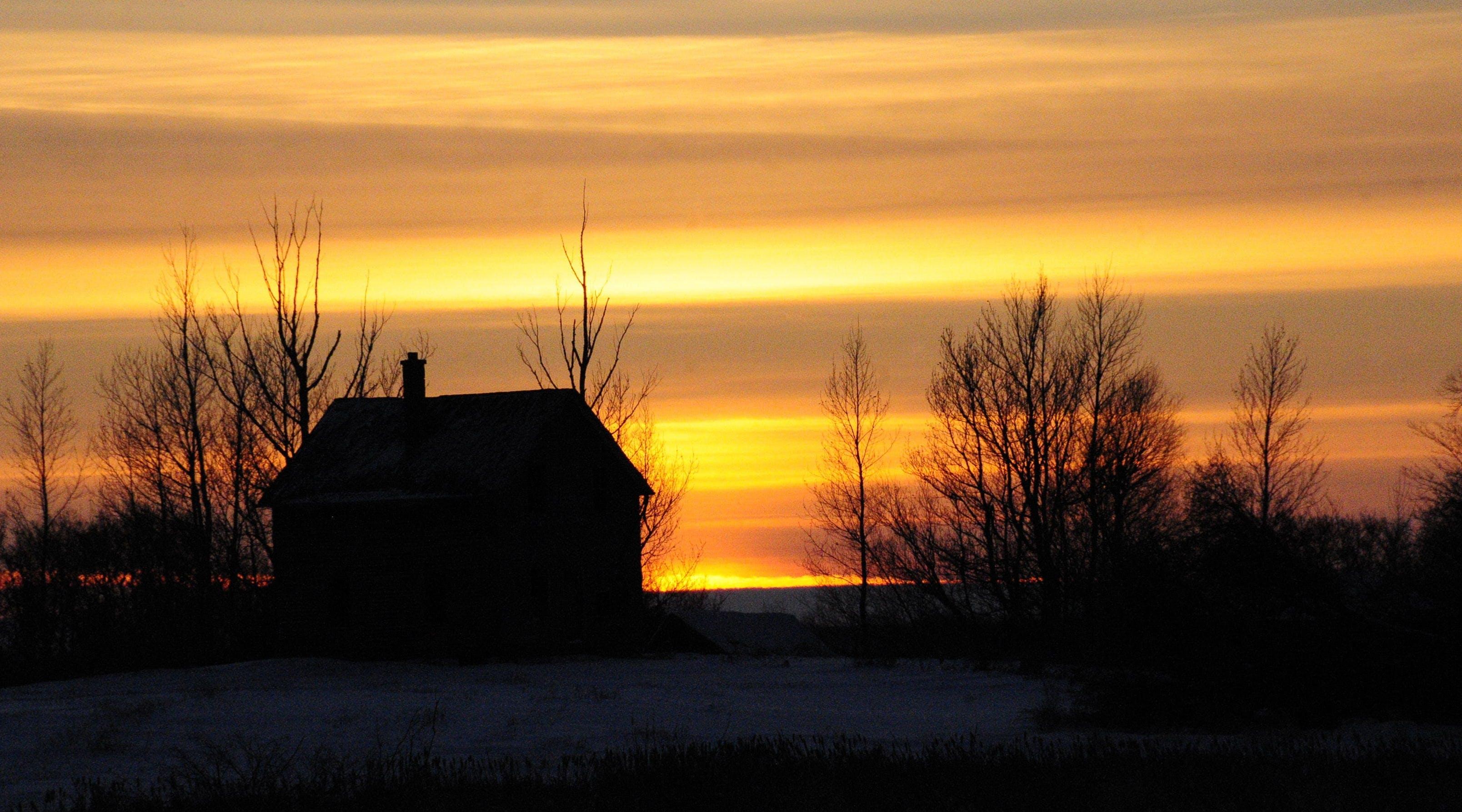 Free stock photo of sunset, farm, evening, farm house