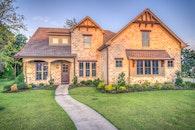 house, path, lawn