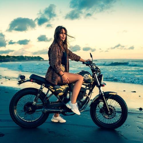 Free stock photo of beach, beautiful girl, cute girl, motor bike