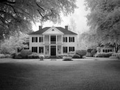 black-and-white, house, lawn