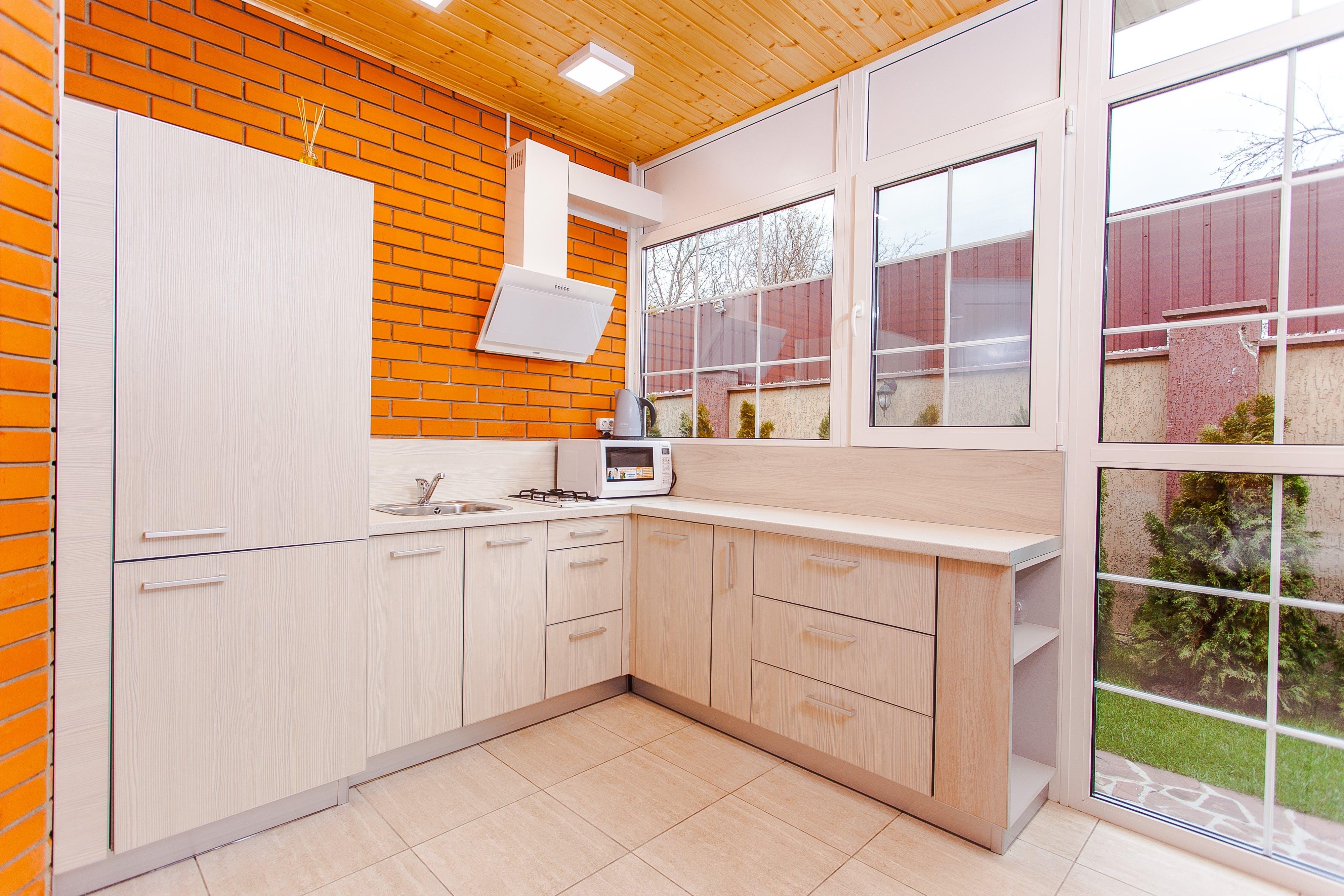 architecture, brick wall, cabinets