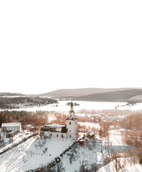 Free stock photo of church building, drone shot, sunset, sweden