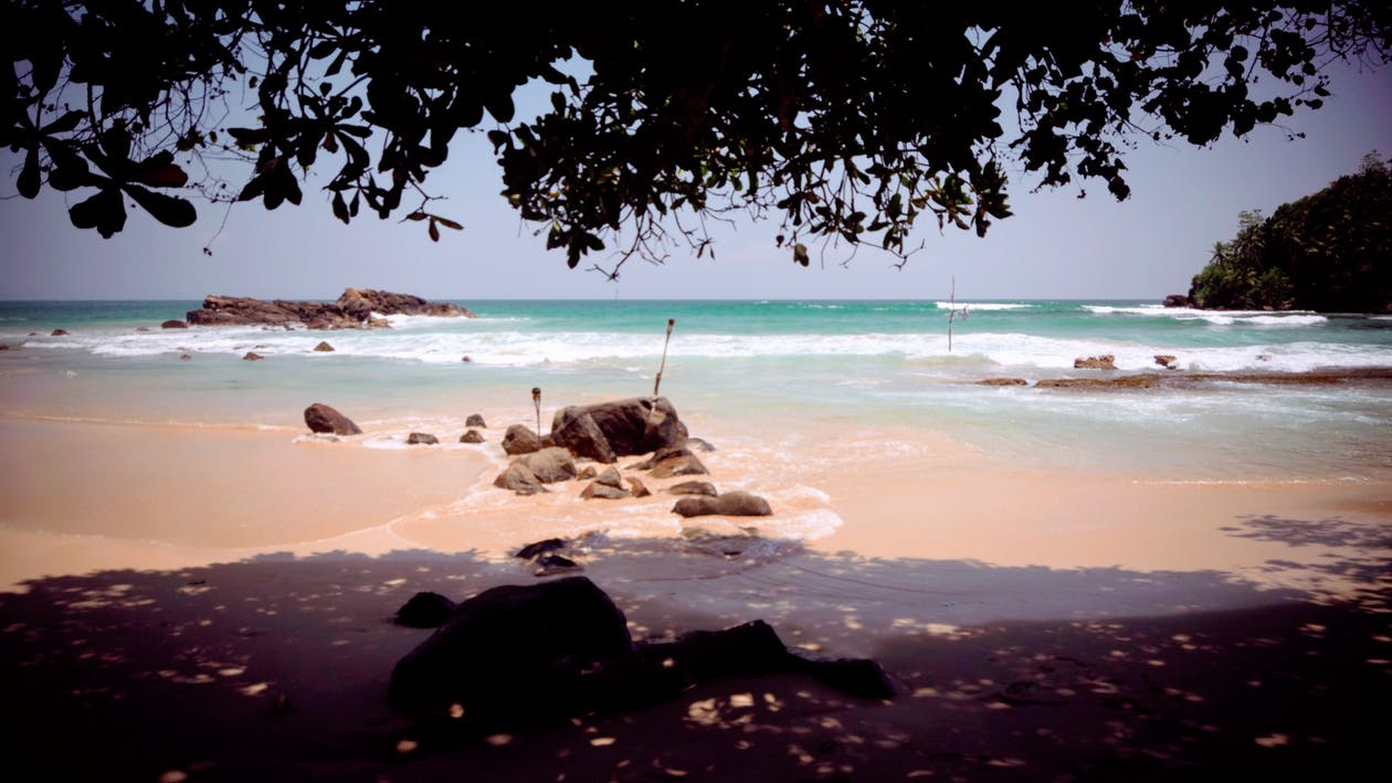 litoral, pedras, praia