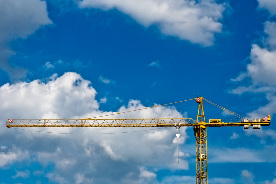blue sky, clouds, construction
