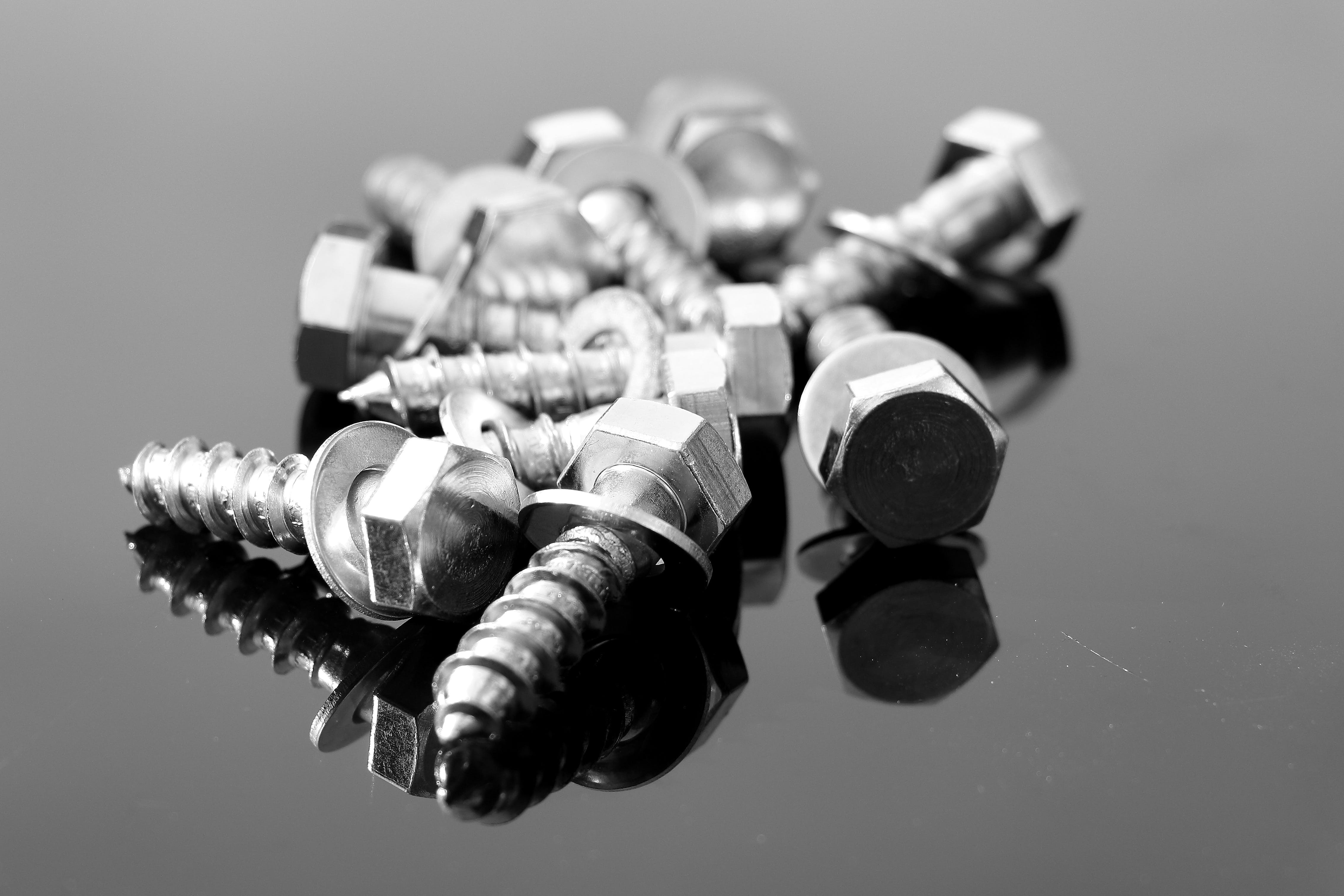 Free stock photo of black-and-white, reflection, screw
