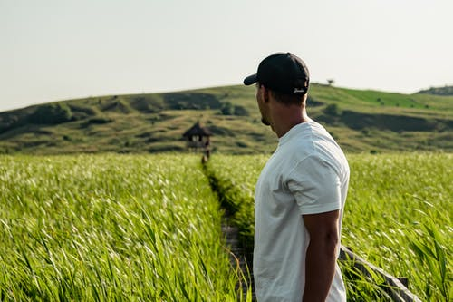 Photo of a Man in White Shirt Standing in Farmland