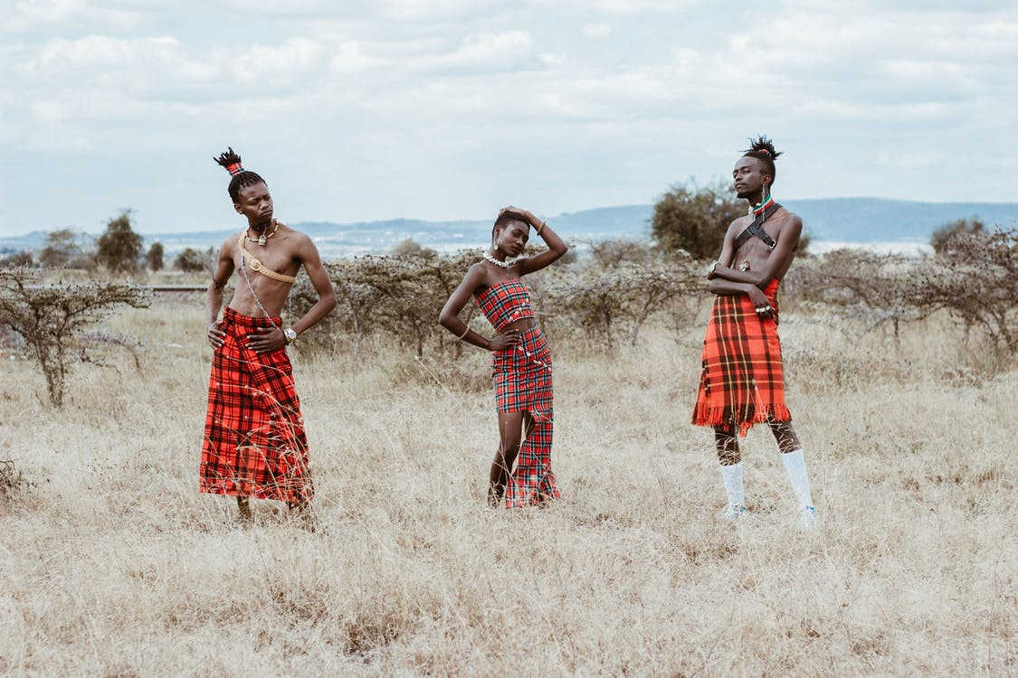 afrikanske folk, ansiktsuttrykk, antrekk