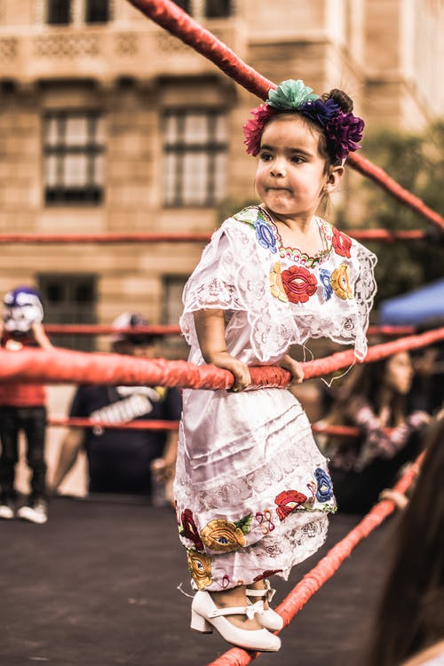 Selective Focus of Girl Standing on Rope