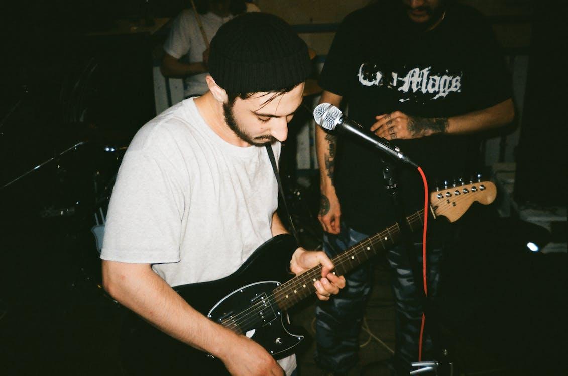 desempenho, guitarrista, homem