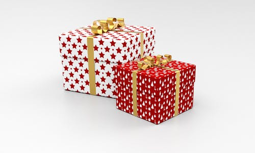 Two White and Red Star Gift Boxes
