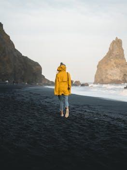 Walk on a black beach