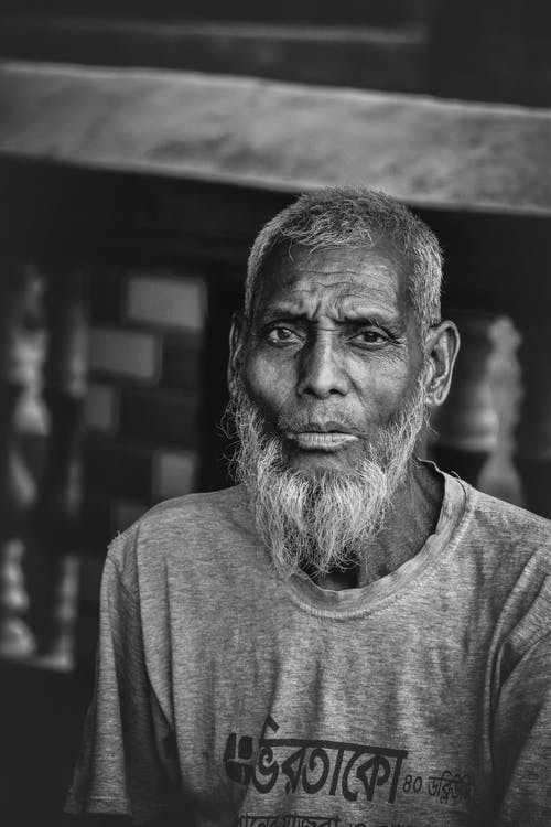 Black and White Photography of Elderly Man