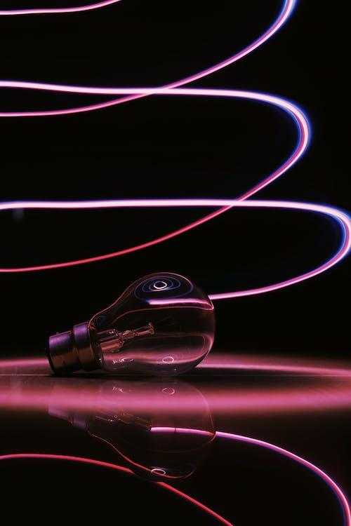 ampul, ışık çizgileri, ışık izleri