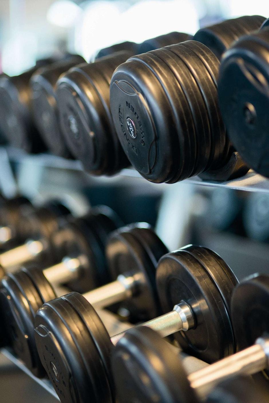bodybuilding, close-up, dumbbells
