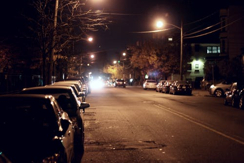 Free stock photo of cars, neighborhood, night photography, night shot