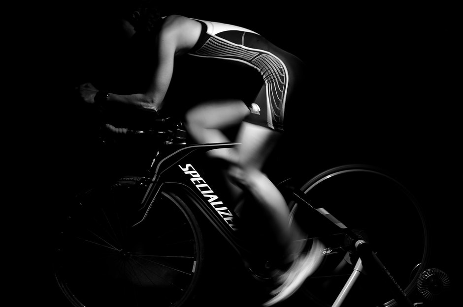 athlete, bike, black-and-white