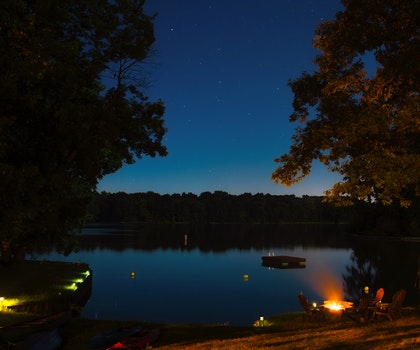 Sea Body of Water Near Trees during Nighttime