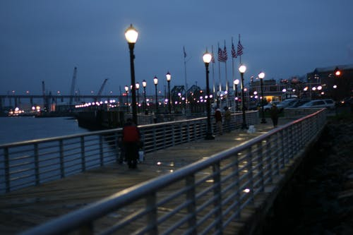 Free stock photo of boardwalk, night photography, night shot, waterfront
