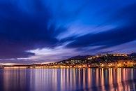sea, city, dawn