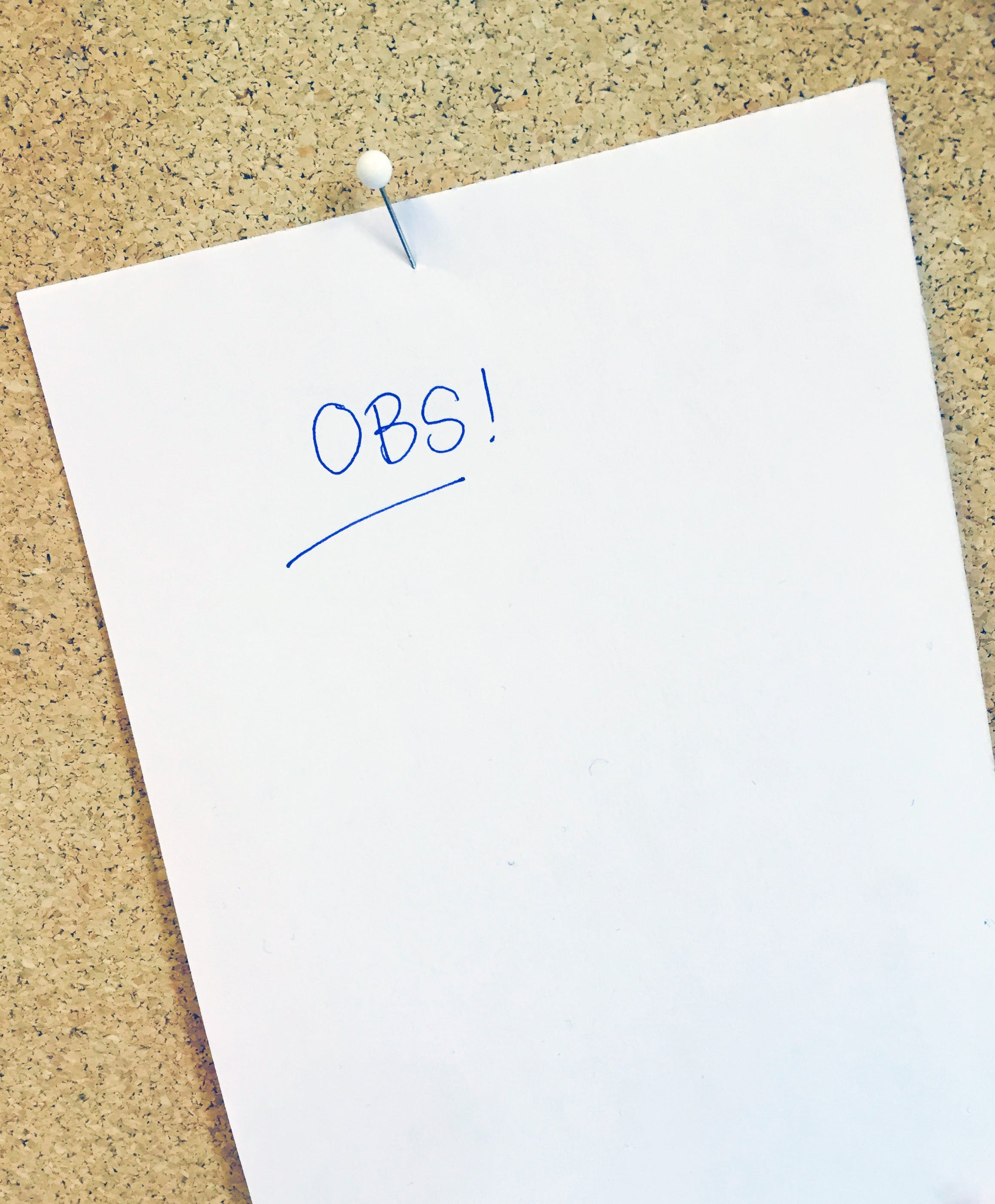 Obs Text on White Paper