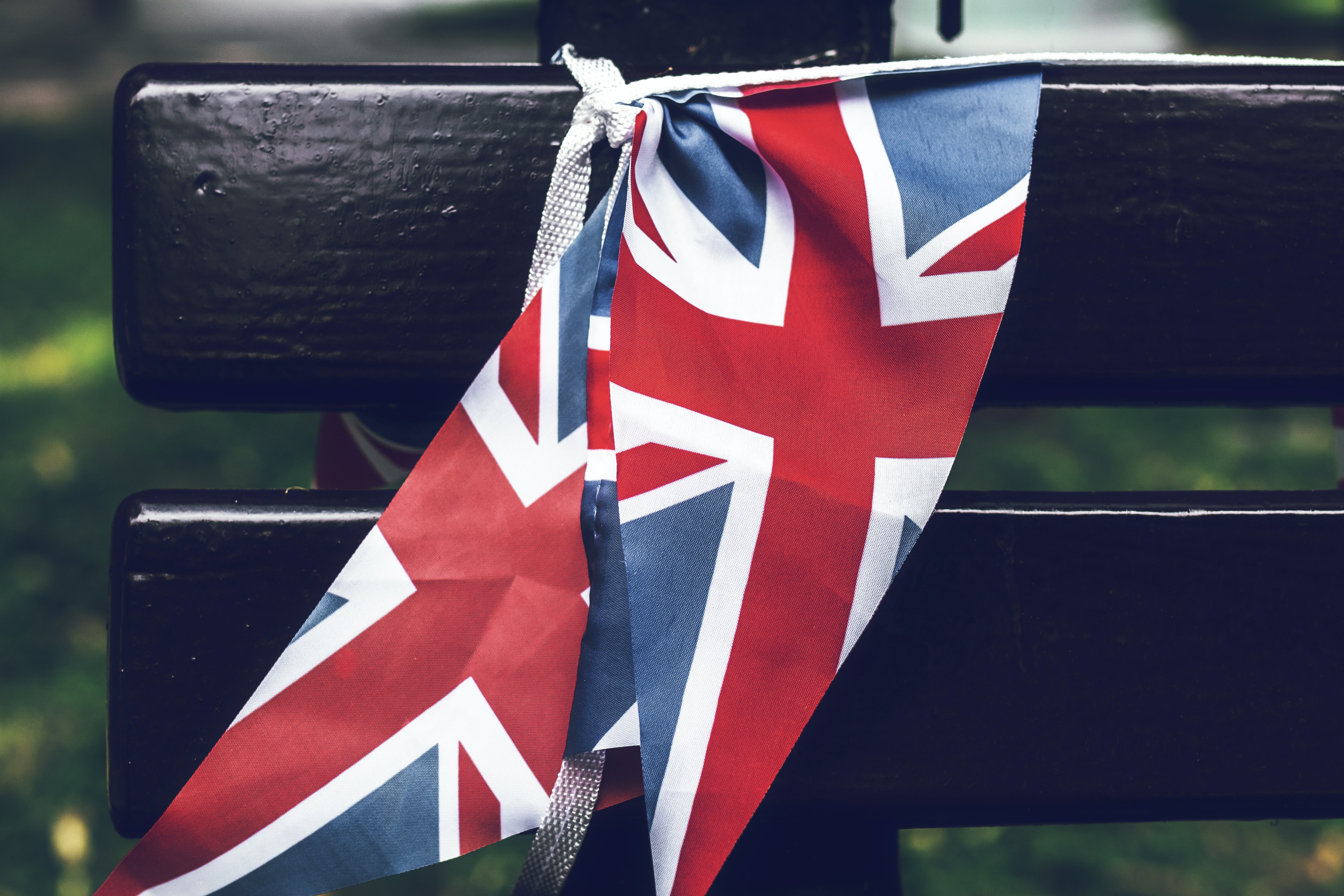 Superb United Kingdom Flag Tied To A Wooden Bench Free Stock Photo Pdpeps Interior Chair Design Pdpepsorg