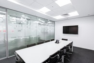 black-and-white, desk, office