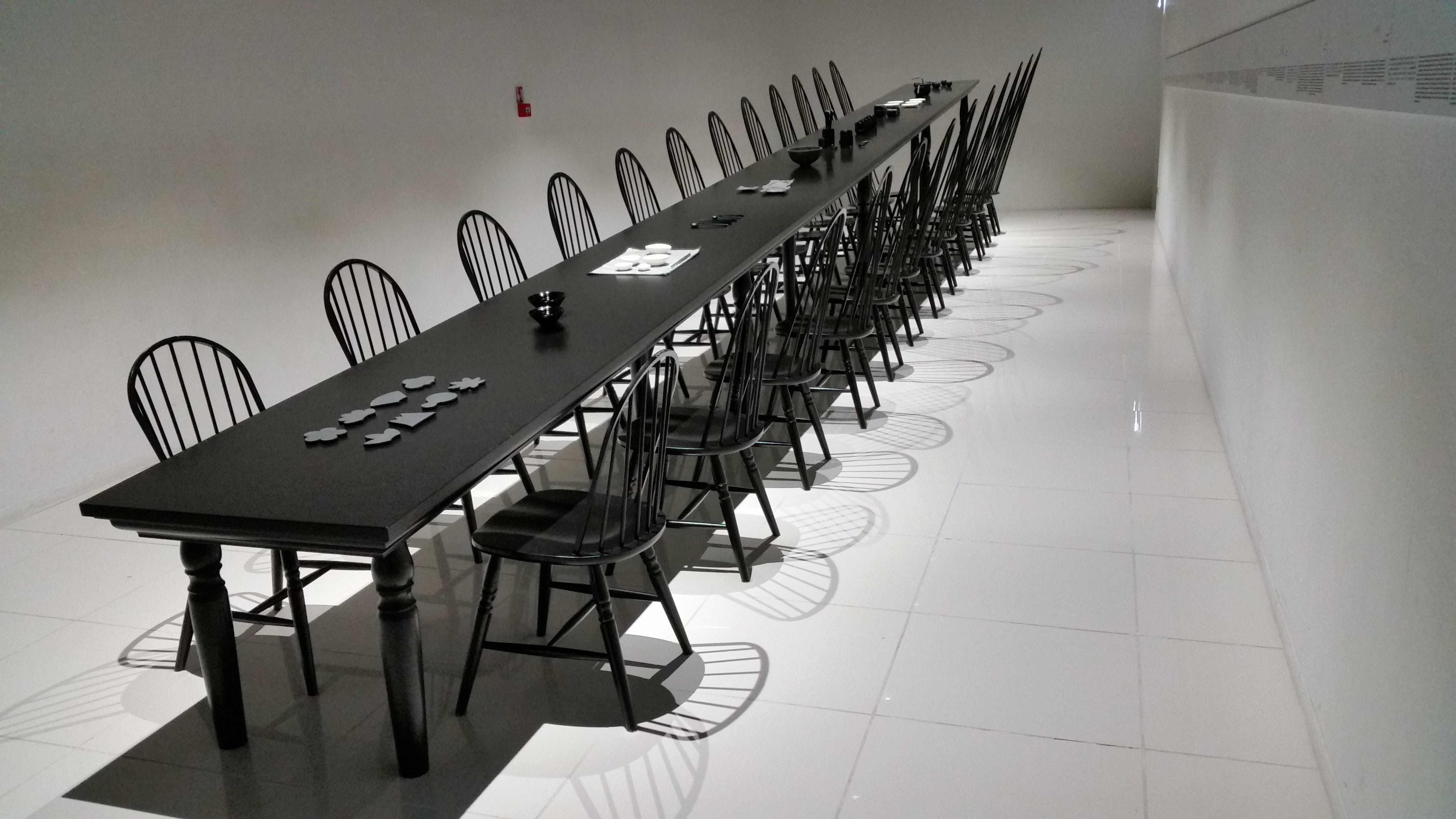 Rectangular Black Wooden Table and Chairs