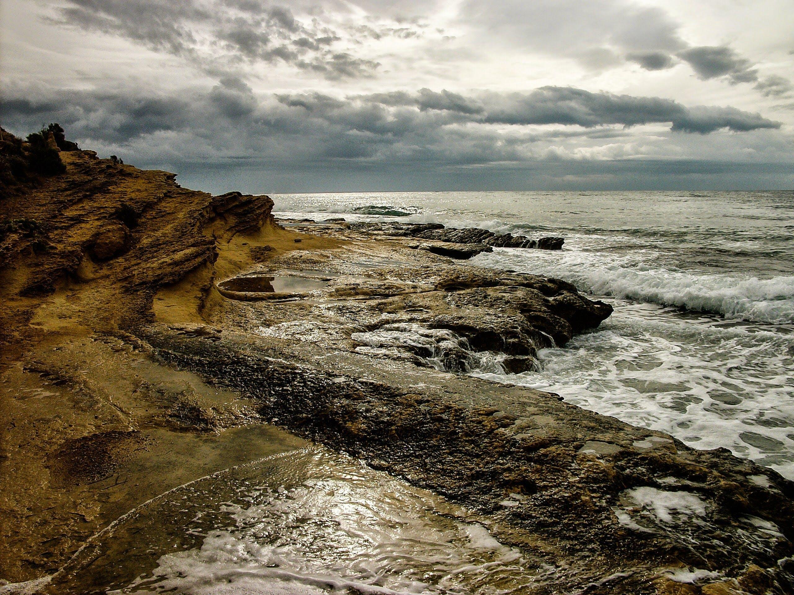 Ocean Waves Crushing on Land
