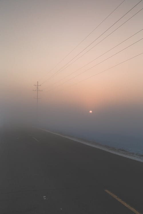 mist, straat, weg