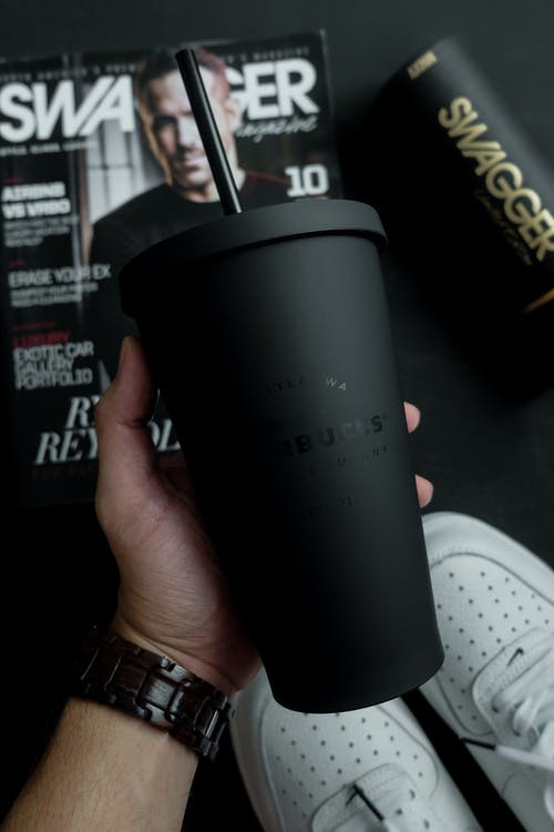 Close-Up Photo of Black Starbucks Tumbler
