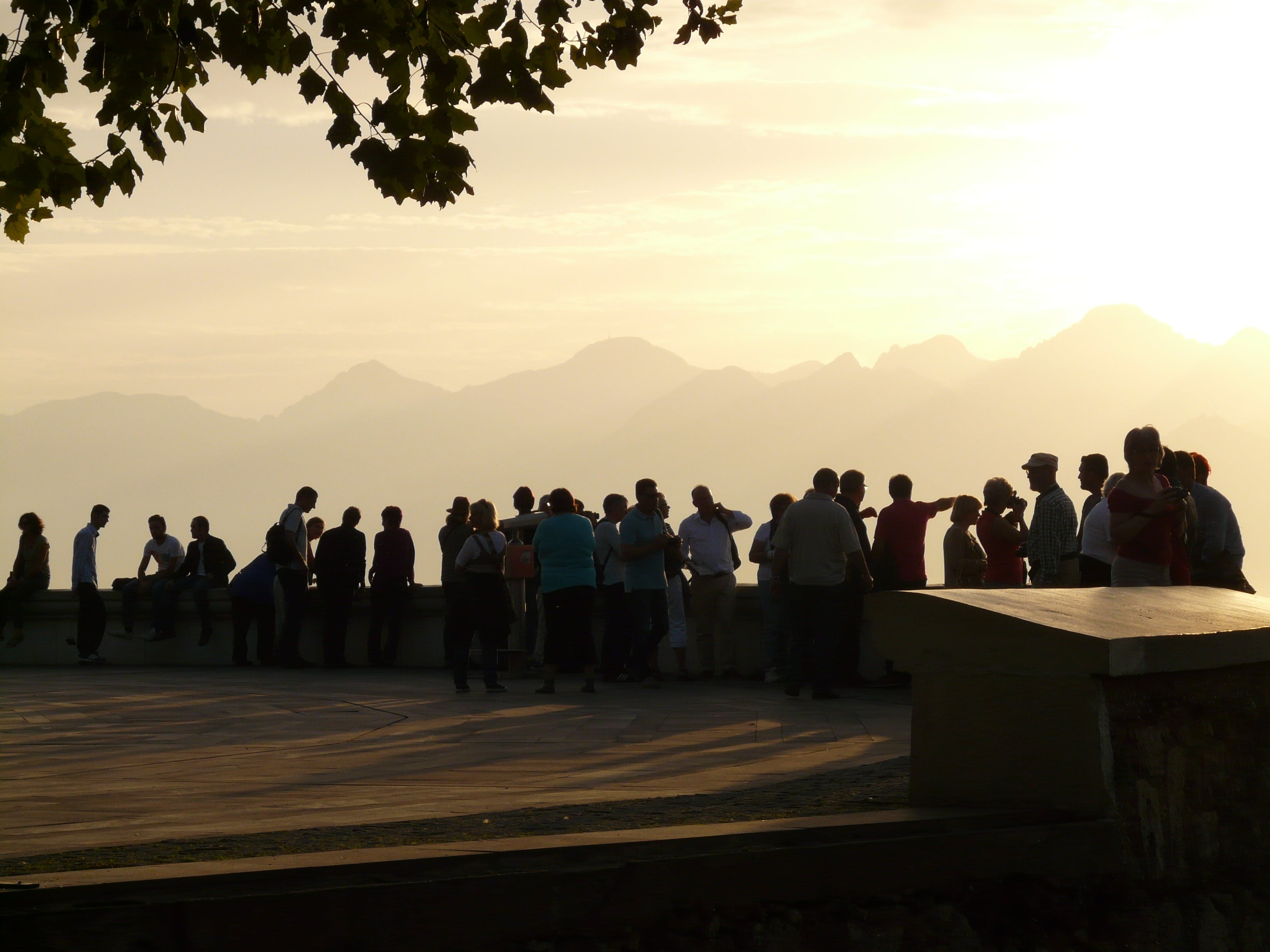 Free stock photo of tourists, meeting, group, silhouettes